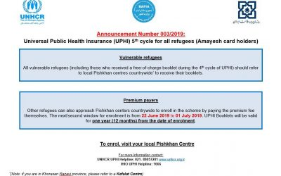 Universal Public Health Insurance (UPHI) 5th cycle open to all refugees (Amayesh card holders)