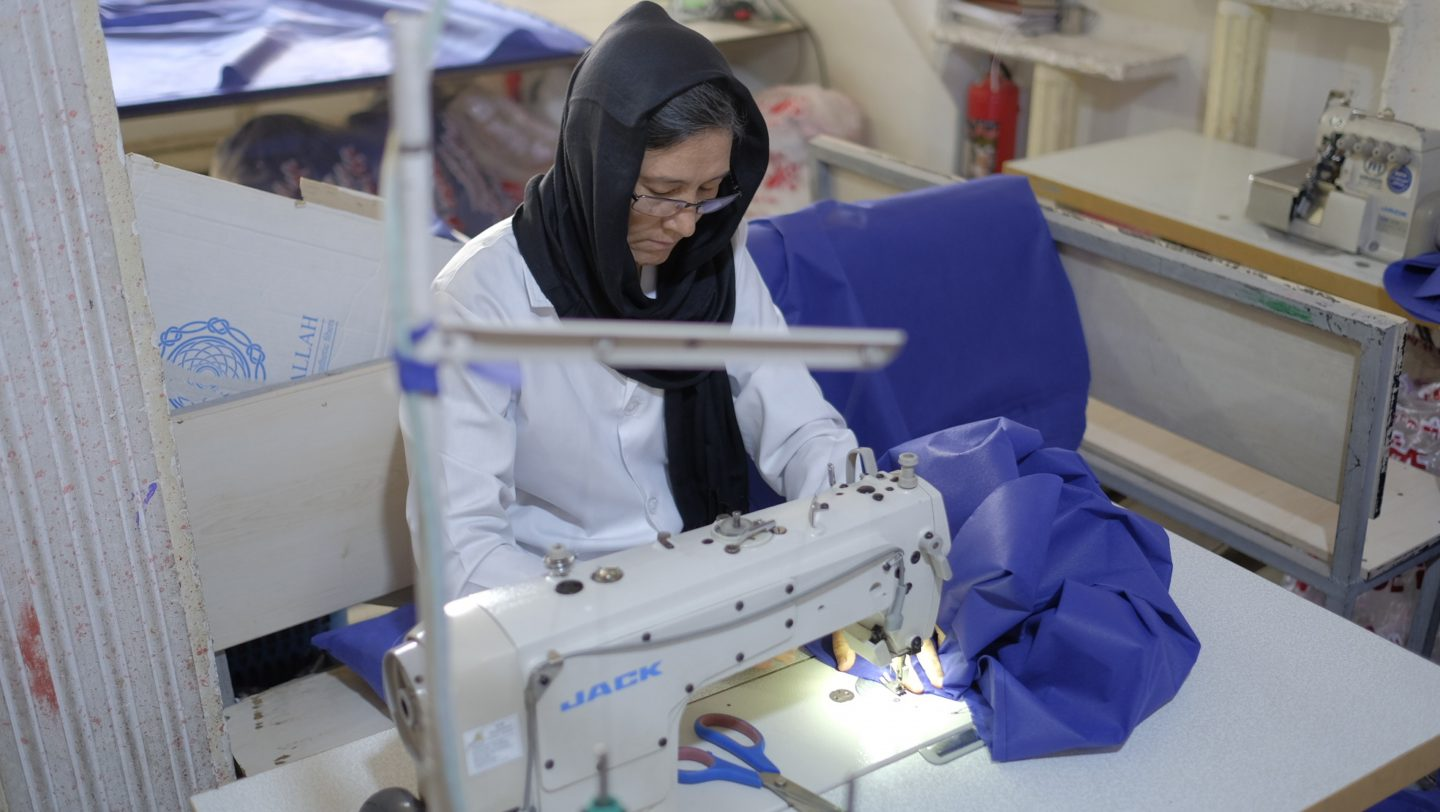 Iran. Afghan refugee, Zeynab Shaban, Tailoring workshop in the city of Shiraz in Fars province