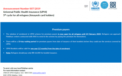 Universal Public Health Insurance now open for all refugees until 24 February