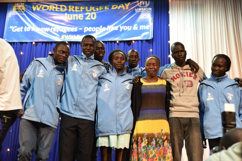 Tegla Loroupe and the athletes, 5 of whom will be competing in Rio