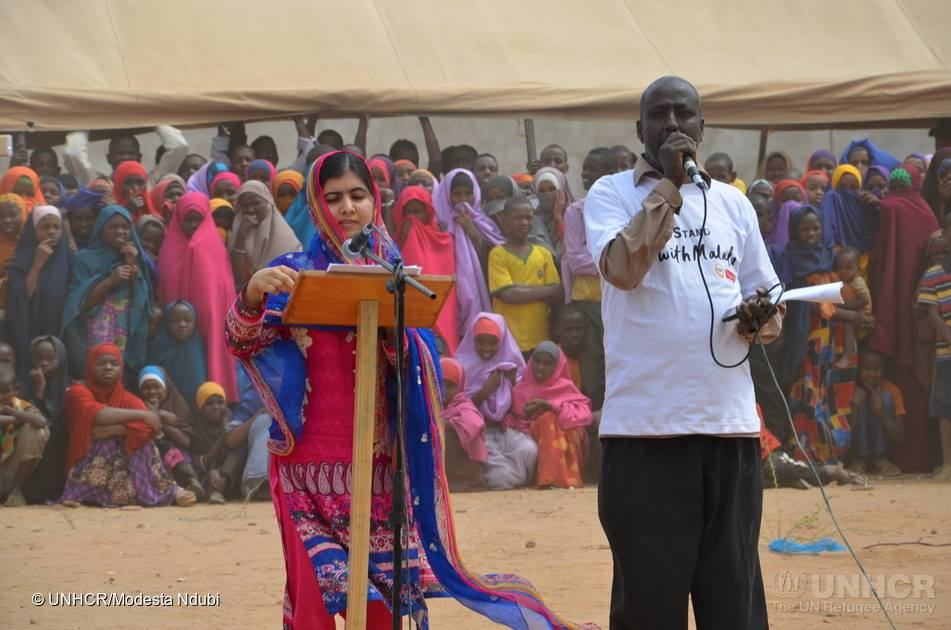 Malala addressing the gathering at Juba Sports Complex in Dagahaley