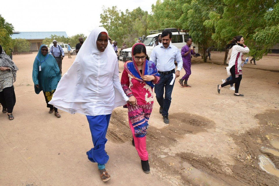 Fatuma welcoming Malala in Nasib Secondary School in Ifo 2. photo UNHCR/C.Opile