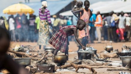 South Sudanese refugee cooking
