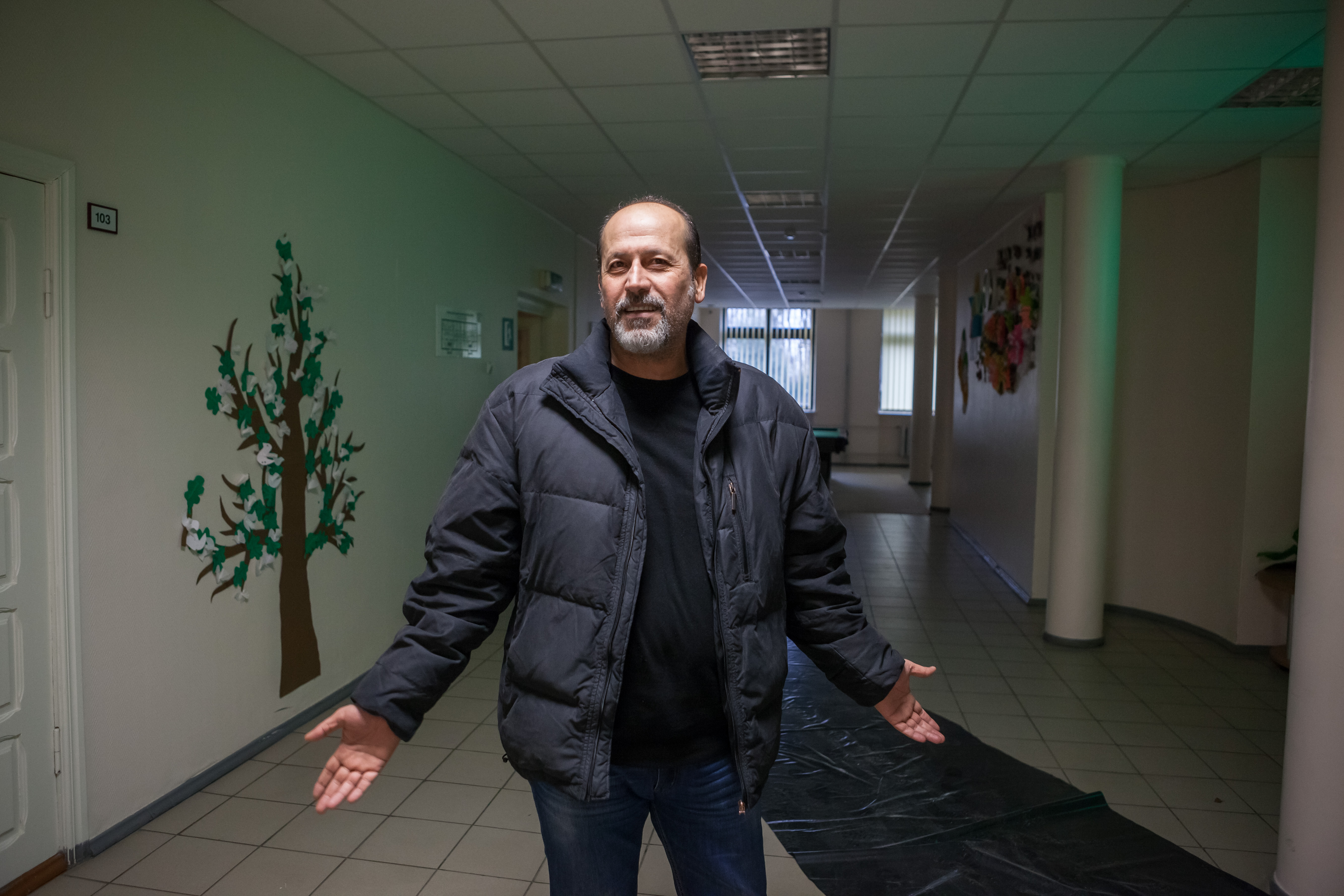 Currently about 100 Syrian refugees are provided with accommodation in the Center. This Syrian refugee arrived to Lithuania with his wife and two kids. They live in Rukla's Center for about three months.