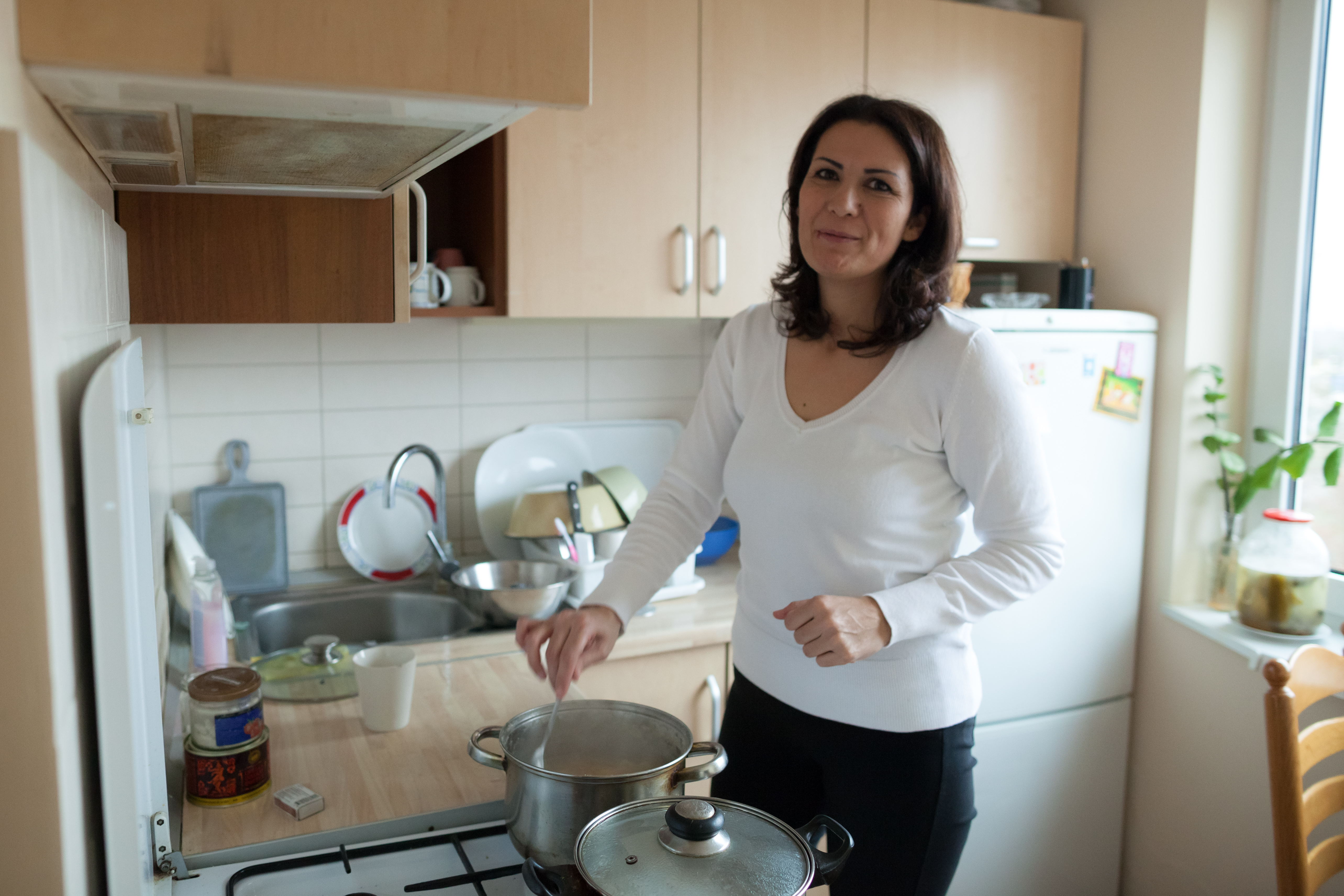 Pierre's wife Aida is a great hostess and chef. She has found a job and works at Ltd. Vita & Co, which produces handmade sweets. When at home, Aida finds pleasure in taking care of her family.