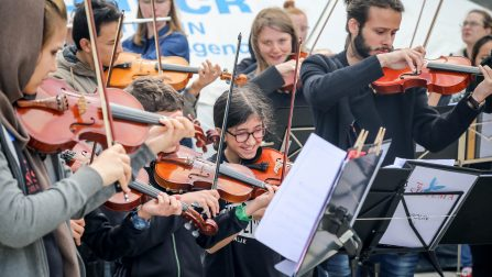 Refugee Children Play Music for Integration