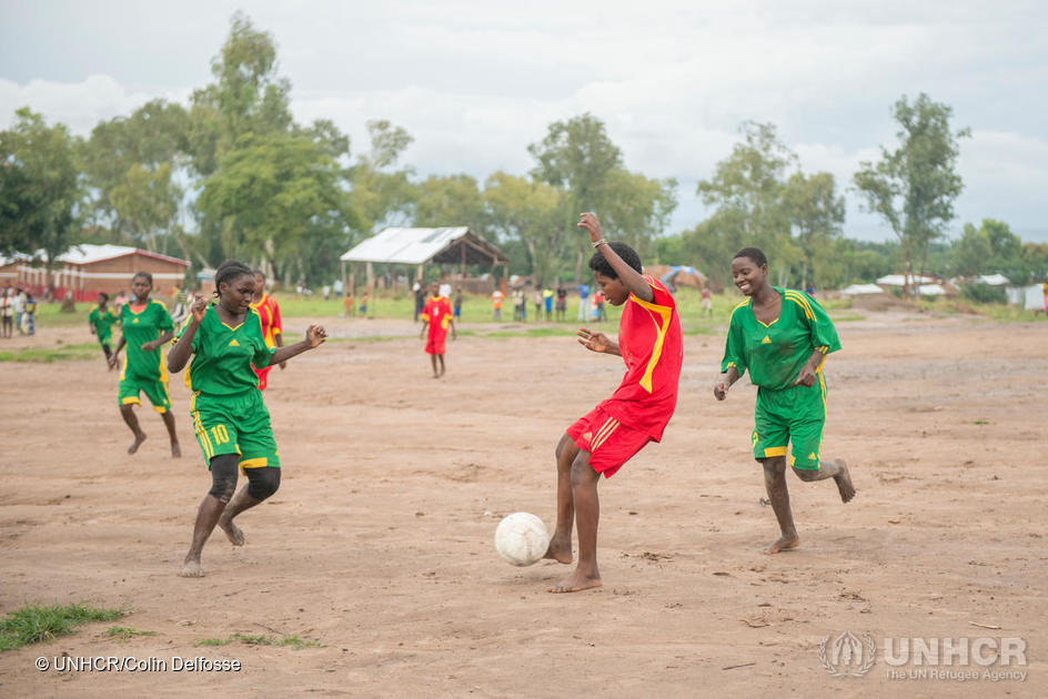 Democratic Republic of the Congo. Burundian female football player in Lusenda refugees camp