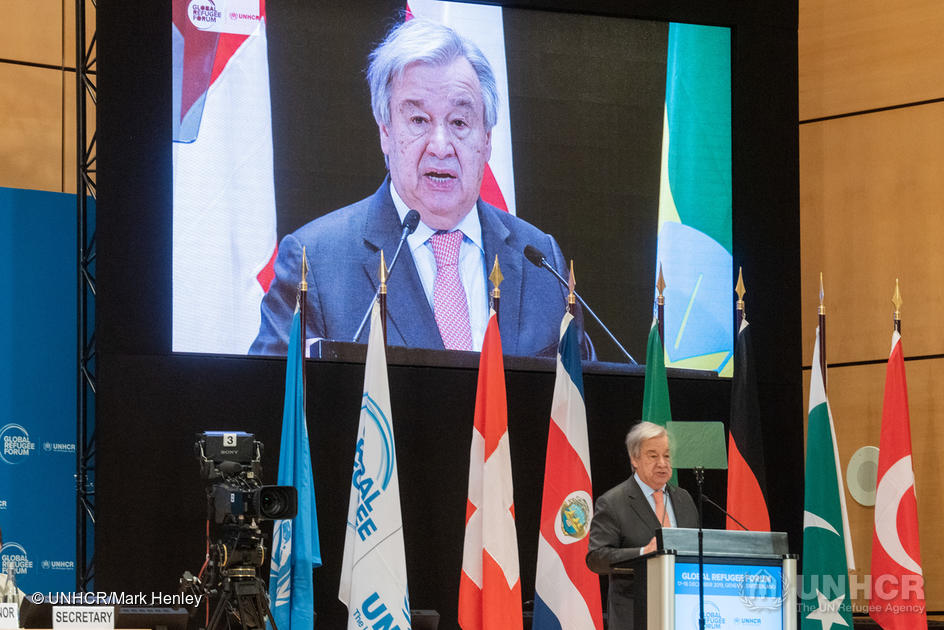 Switzerland. UN Secretary-General addresses the opening session of the Global Refugee Forum