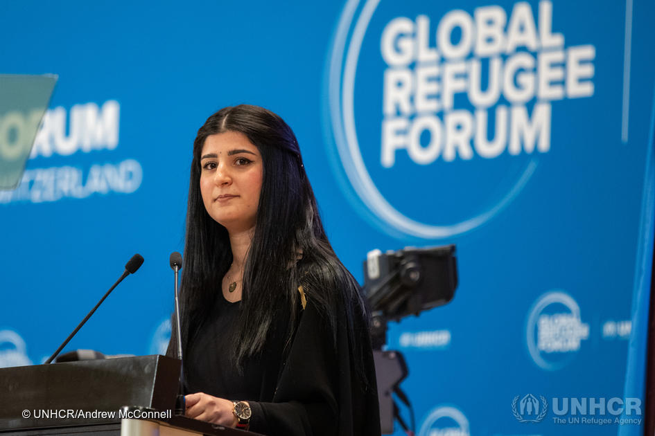 Switzerland. Former Iraqi refugee speaks at the Global Refugee Forum