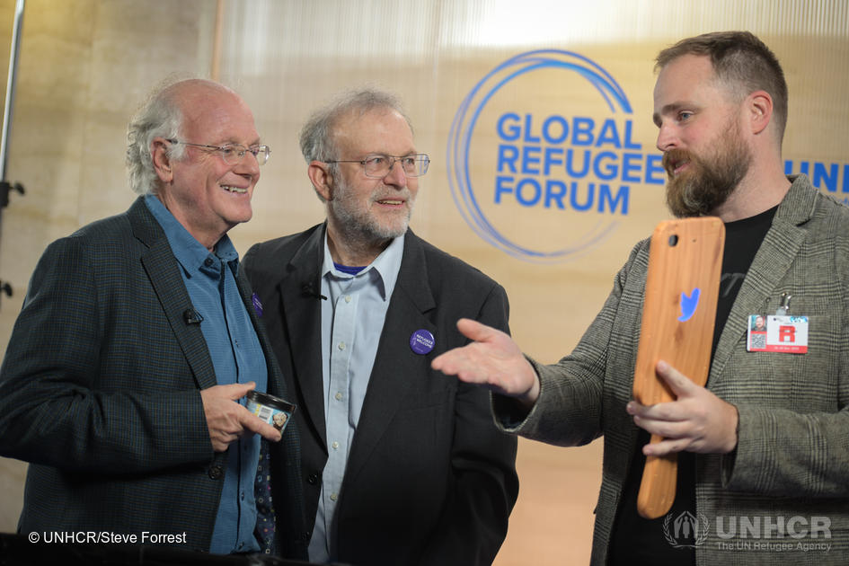 Switzerland. Ben & Jerry's founders chill out at the Global Refugee Forum