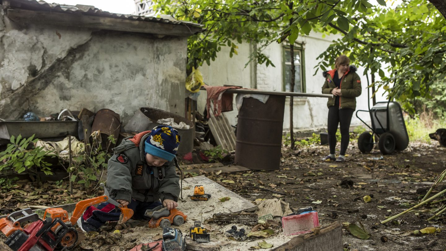 Ukraine. Family relocated away from conflict zone by UNHCR