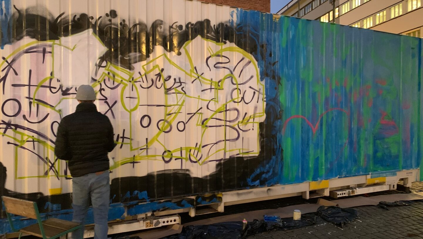 Graffiti-painted container in oslo