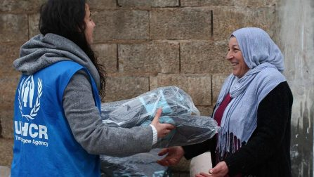 Turkey / Syrian refugees / Smiles flourishing like flowers on the faces of refugees on a cold winter day… Here you see Syrian refugees in Suruç-Sanliurfa, receiving winter clothing and thermal blankets. It is very cold but their smiles warm our heart! UNHCR Turkey's winterization plan targets assistance to 551,000 refugees both inside and outside camps. / UNHCR Turkey / January 2015 ;
