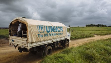 A UNHCR truck, forming part of a convoy repatriating Ivorian refugees to Côte d'Ivoire, departs from Little Wlebo refugee camp, approximately 15 kilometres (9 miles) from Harper, Maryland, Liberia. ; Refugee repatriation for Ivorian's sheltered in camps and communities in Liberia finally resumed on 18 December 2015, after being suspended following the outbreak of Ebola in 2014. Since then, more than 15,000 refugees have accepted the option for voluntary repatriation and returned home to Côte d'Ivoire.