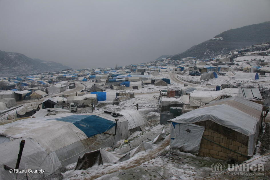 Syria. Freezing cold day in a displacement camp in Idlib