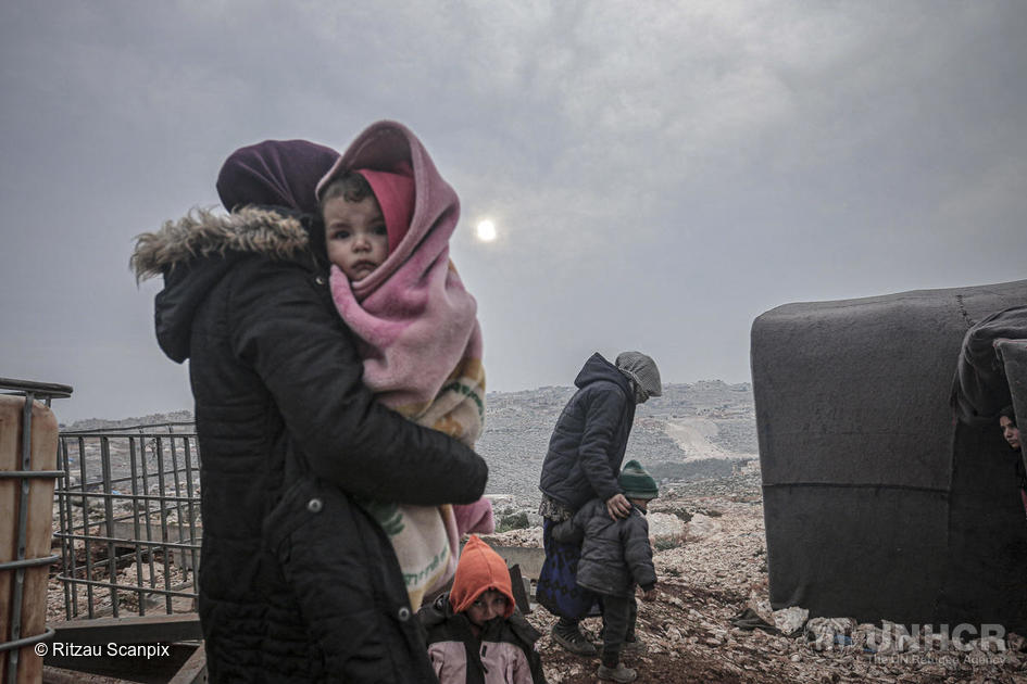 Syria. Displaced Syrians fleeing ongoing armed attacks