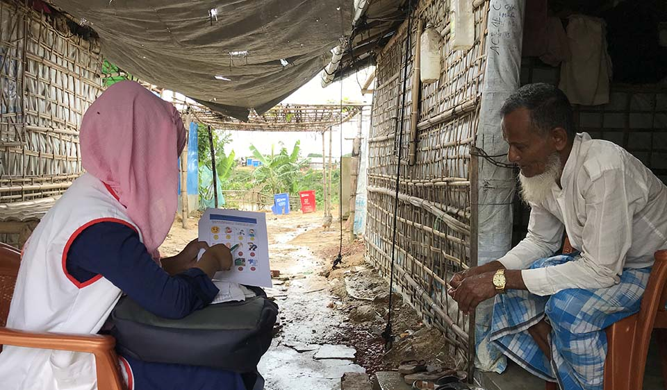 Bangladesh. Community Health Workers in the Rohingya refugee settlements in Bangladesh help to combat the Covid-19 pandemic