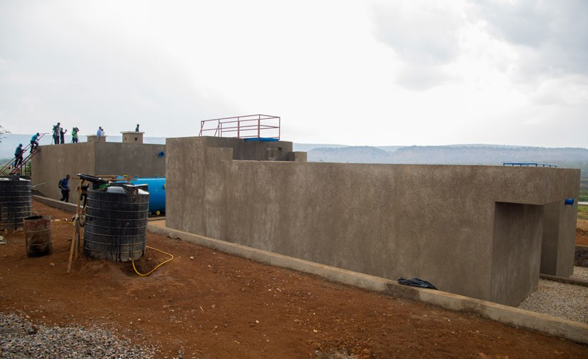 A new permanent water treatment system being constructed by UNHCR and Oxfam, which treats surface water from Akagera River and will provide water supply for the camp but also for the host communities in the entire Kirehe district Mahama sector. [Photo/ Courtesy]