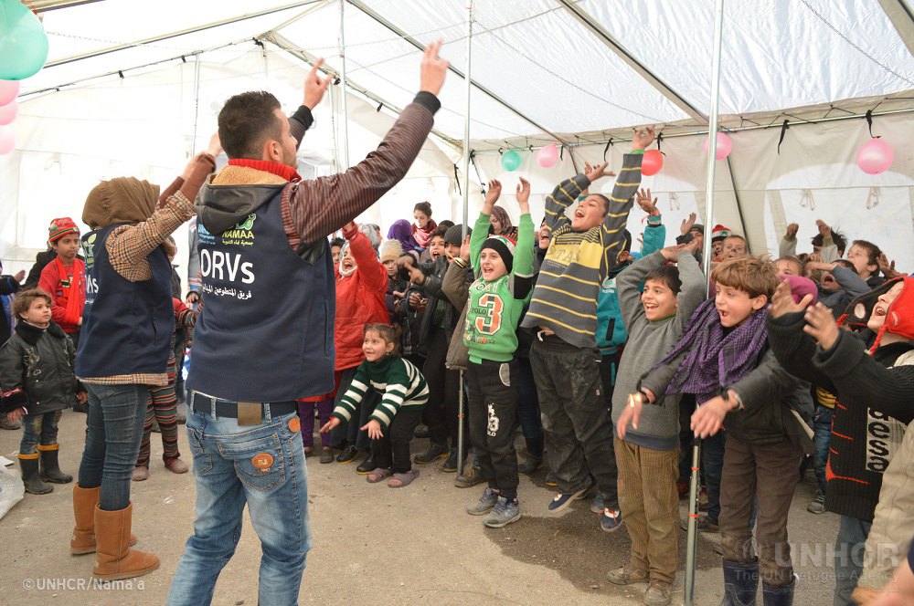 Young Syrian displaced children from East Aleppo enjoy recreational activities