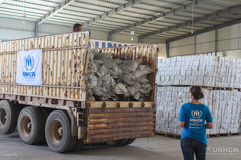 UNHCR delivered the first humanitarian convoy by road to Al Hassakeh
