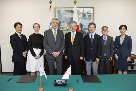 Switzerland. UN High Commissioner for Refugees meets the Japanese Ambassador.
