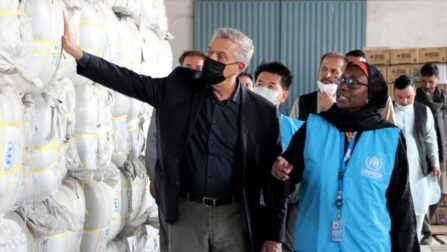UN High Commissioner for Refugees Filippo Grandi inspects emergency relief items at a warehouse in Kabul, Afghanistan. © UNHCR/Ghulam Abbas Farzami