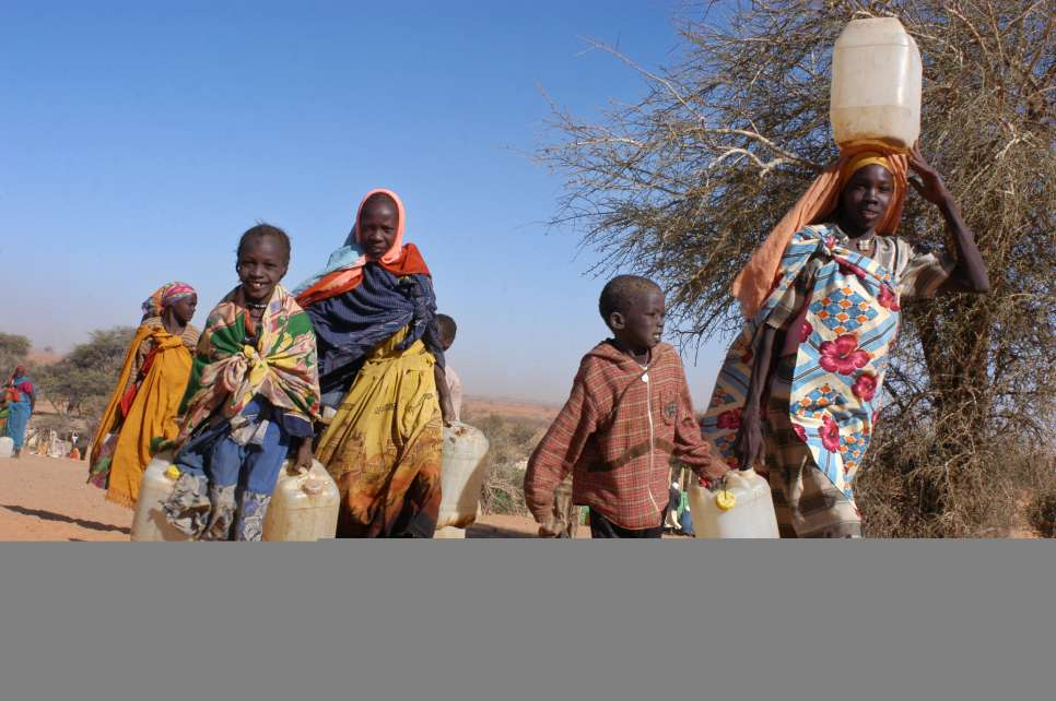 Refugees carrying plastic jerry cans head out to the water tap in Touloum camp to collect water for their daily needs. UNHCR and its partners have struggled to find campsites with sufficient water supply for tens of thousands of refugees in the desert region. (March 19, 2004)