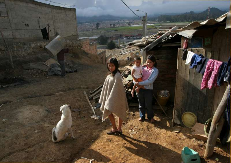 An IDP family living in dire conditions in the <em>barrio</em> of Los Altos de la Florida, just outside Bogota.