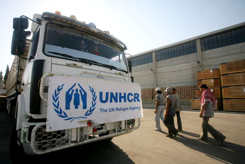 UNHCR relief supplies are loaded into warehouses in Damascus for eventual distribution to Lebanese refugees and asylum seekers in Syria and also further transportation to internally displaced people in Lebanon.