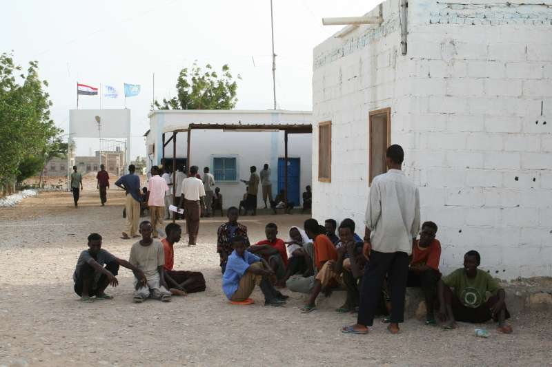 Somali boat people seek shelter at the Mayfa'a reception centre in the south of Yemen.
