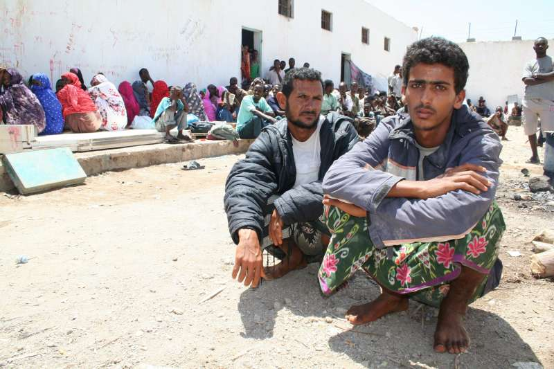 Two Yemeni smugglers caught and detained by marines as they were leaving the Djibouti coast on a boat loaded with refugees and migrants heading for Yemen.