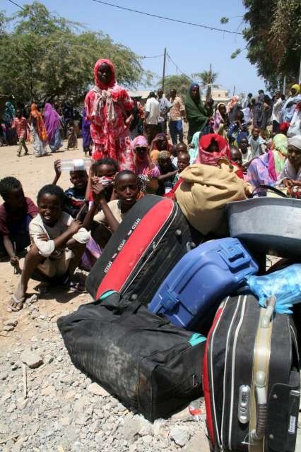 In Djibouti city, large numbers of refugees jam offices of the government department charged with the registration of asylum seekers.