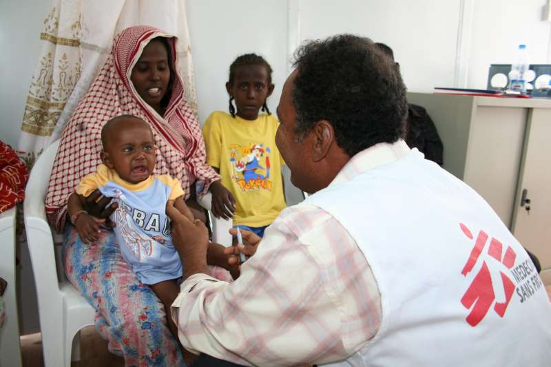 After making the perilous journey across the Gulf of Aden, new arrivals are checked by a doctor at the Ahwar reception centre in Yemen.