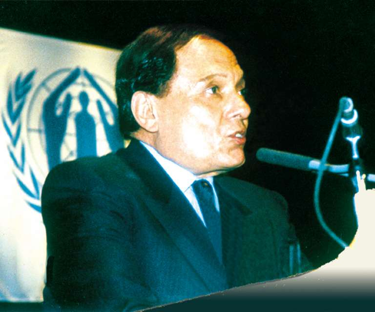 UNHCR Goodwill Ambassador Adel Imam in Cairo (Egypt), in June 2002.