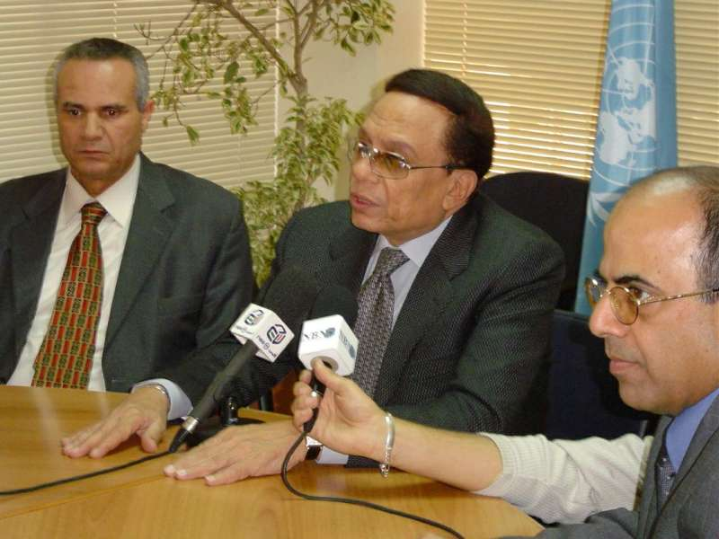 UNHCR Goodwill Ambassador Adel Imam at a press briefing at UNHCR office in Gemaizeh, Lebanon.