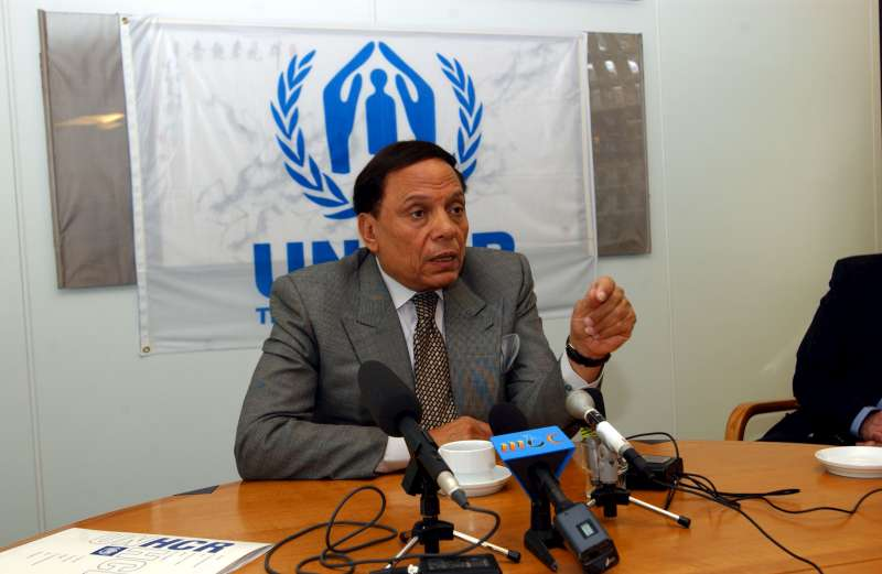 UNHCR Goodwill Ambassador Adel Imam at a press conference at UNHCR Headquarters in Geneva (Switzerland), in June 2003.
