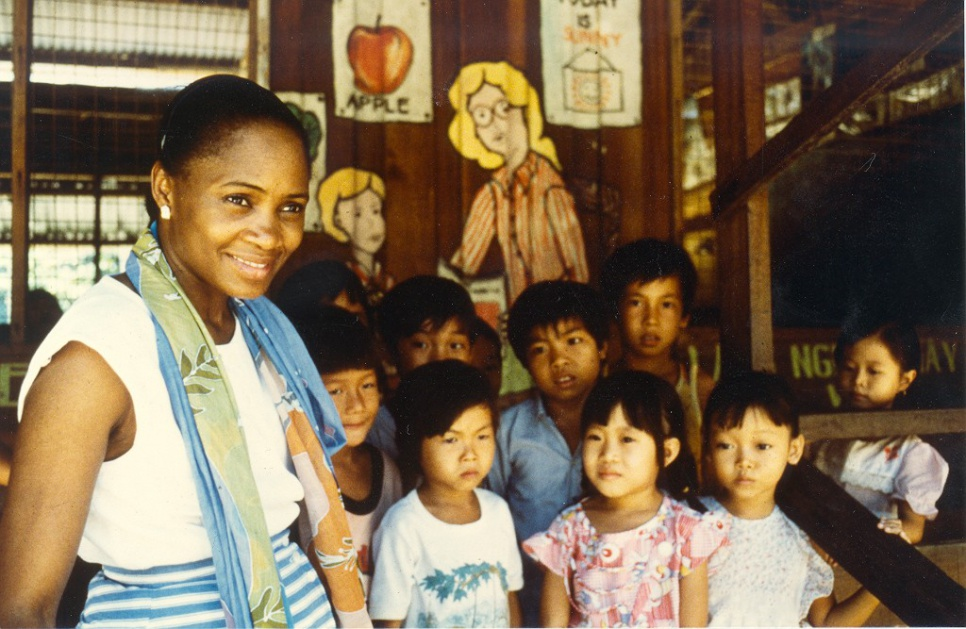 Visiting Vietnamese boat people on the island of Pulau Bidong in Malaysia, in March 1988.