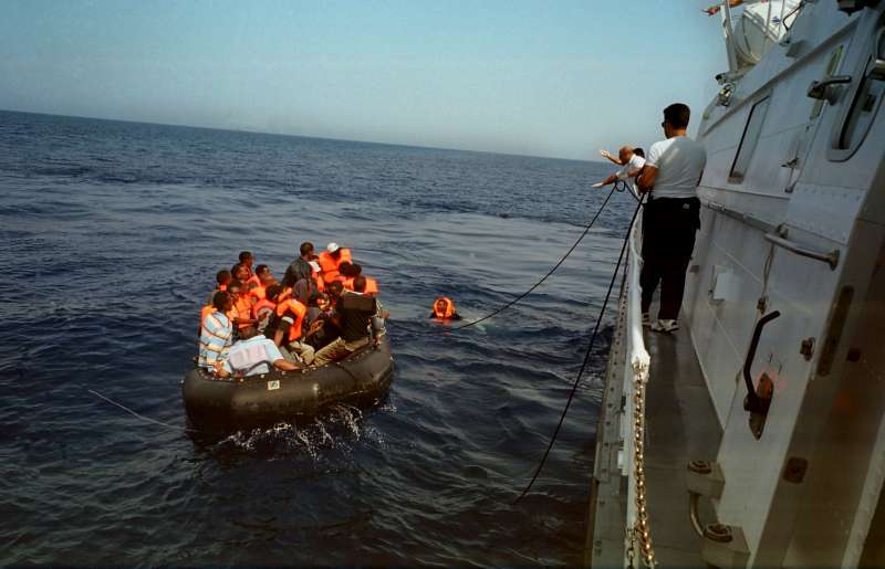 An Italian coastguard vessel rescues boat people near Lampedusa […]