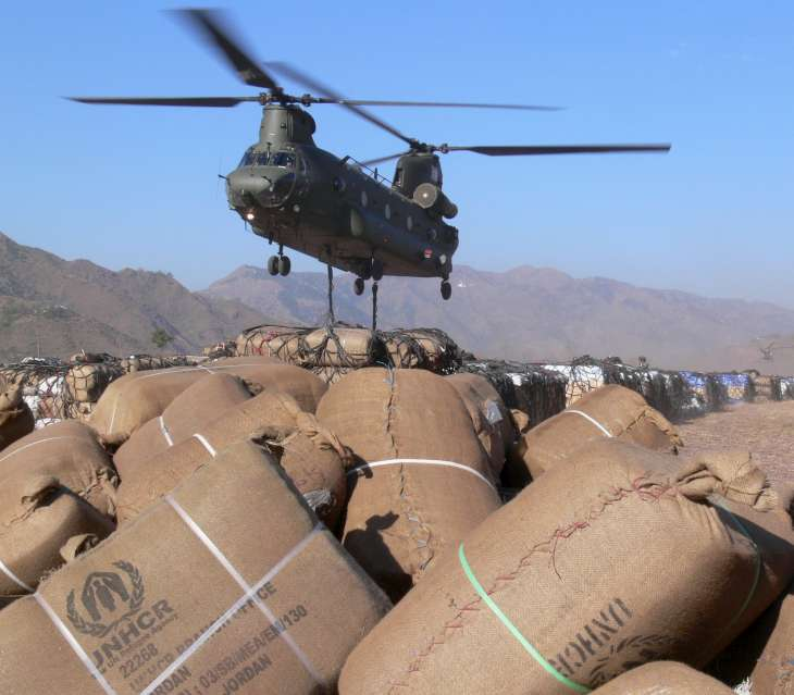 A British Chinook helicopter takes UNHCR relief items to the […]