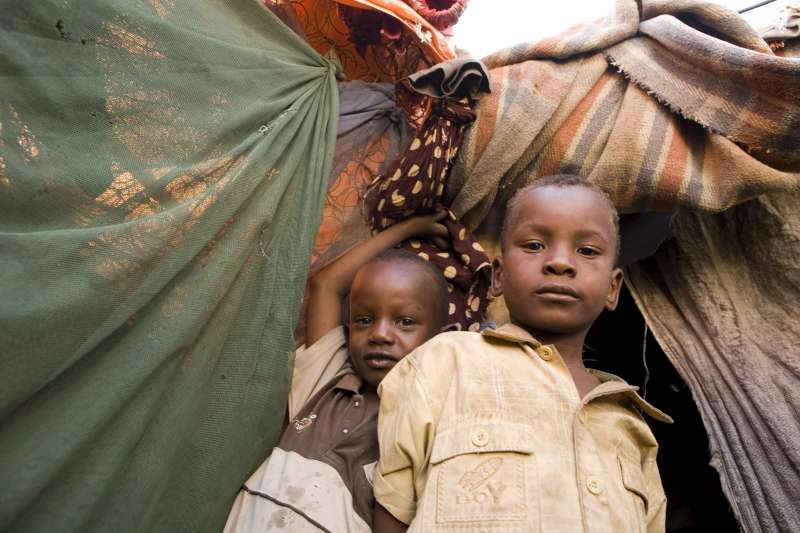 Somali children in the Bulo Jawaanley camp for the internally displaced, South Galkayo, Somalia.