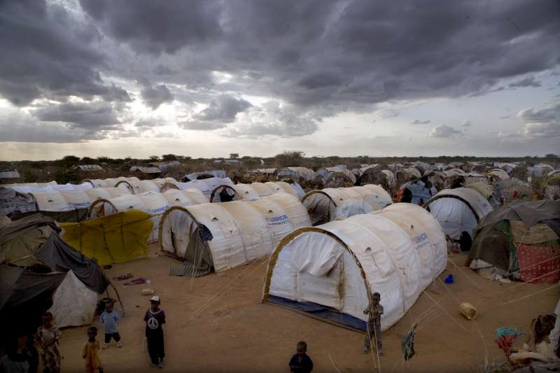 Makeshift shelters and new tents in a section for new arrivals at Ifo, one of the three refugee camps at Dadaab in north-east Kenya.