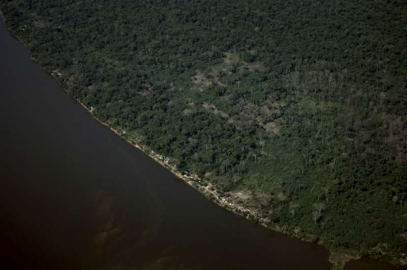 An aerial view of refugee settlements along the Oubangui River […]