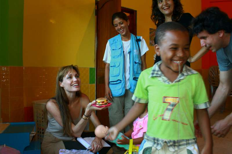 UNHCR Goodwill Ambassador Angelina Jolie visits a daycare centre run by the Women's Federation of Sucumbíos, a province in northern Ecuador.