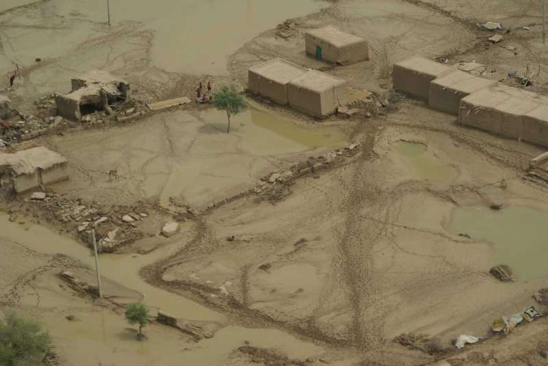 An aerial view of the flooded village of Tali in the Sibi district, in Balochistan, western Pakistan.