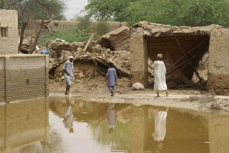The ruins of homes destroyed in the worst flooding Pakistan has seen in decades, Tali village, Balochistan.