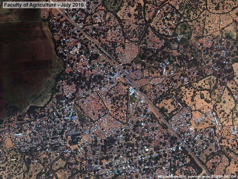After: Afgooye corridor - satellite images of the area around the Faculty of Agriculture in July 2010