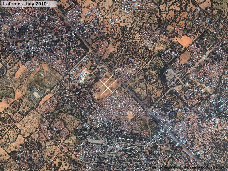 After: Afgooye corridor - satellite images of the Lafoole area in July 2010