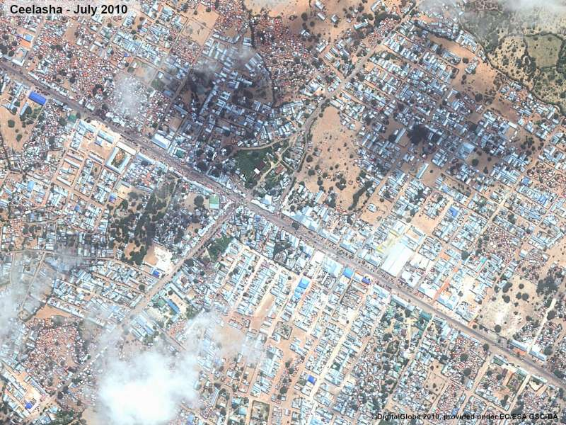 After: Afgooye corridor - satellite images of the Ceelasha area in July 2010.