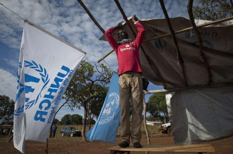 A refugee helps put up a UNHCR tent in the Cameroon. Sub-Saharan Africa remains the largest recipient of UNHCR assistance.