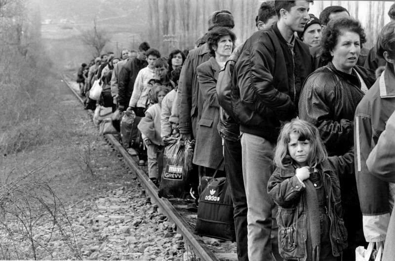 Within days of NATO's air strikes against Serb positions in 1999, nearly one million civilians fled or were forced into exile from Kosovo, including these civilians at a border crossing with the  neighbouring Former Yugoslav Republic of Macedonia.